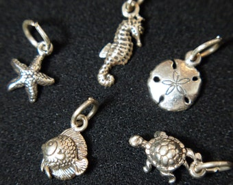 ONE Sterling Silver Charm - Sea Horse, Starfish, Sand Dollar, Fish or Turtle - Your Choice - Add on to an existing Necklace or Bracelet