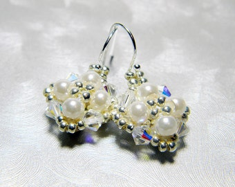 "Custom Color Pearl and Swarovski Crystal AB Earrings Silver Seed Beads Beadweaving Sterling Silver - ""Audrey"""