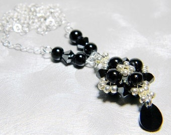 "Black Glass Pearl and Swarovski Hematite 2X Necklace Silver Seed Beads Beadweaving Sterling Silver - ""Melanie"""