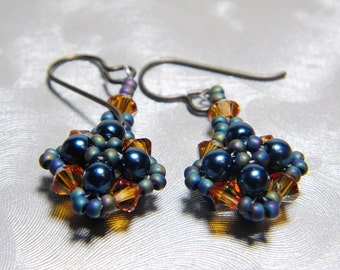 """Navy Glass Pearl and Crystal Copper Swarovski Crystal Matte Metallic Seed Beads Beadweaving Sterling Silver - """"Smolder"""""""