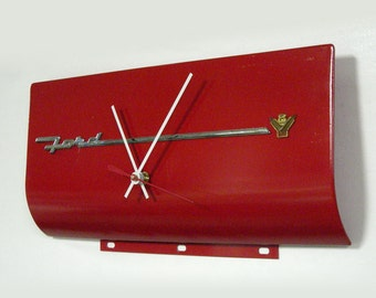 Ford V8 Wall Clock - 1955 Ford Fairlane Glove Box Door - Hot Rod Red - Unique Wall Clock