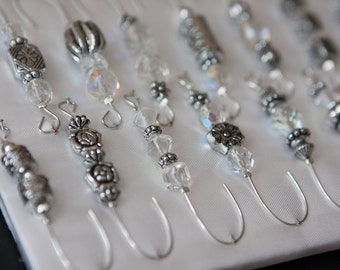 Beaded Ornament Hanger Hooks - Antique Silver and Crystal Beads on Silver Wire - FREE SHIPPING