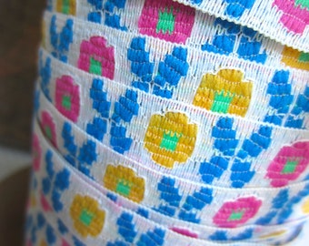 Vintage Colorful Butterfly Flower PInk Blue Yellow Green Trim Sewing Supply