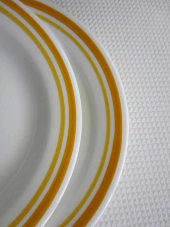 Vintage Corelle Citrus Flat Rim Bowl Yellow Orange Band set of 2