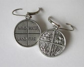 Element Earrings Land Air Fire Water Silver Pewter Round Metal Medallion Four Elements