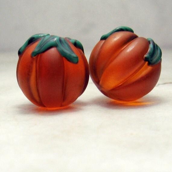 Lampwork Glass Bead Set - Topaz Matte Etched Earring Pair 'Autumn Pumpkins'