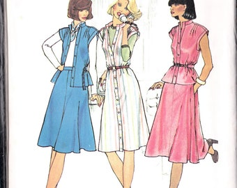 Blouse Top  Skirt  DRESS Simplicity 7350 Sewing Pattern Misses Size 8 Bust 31 1/2 retro