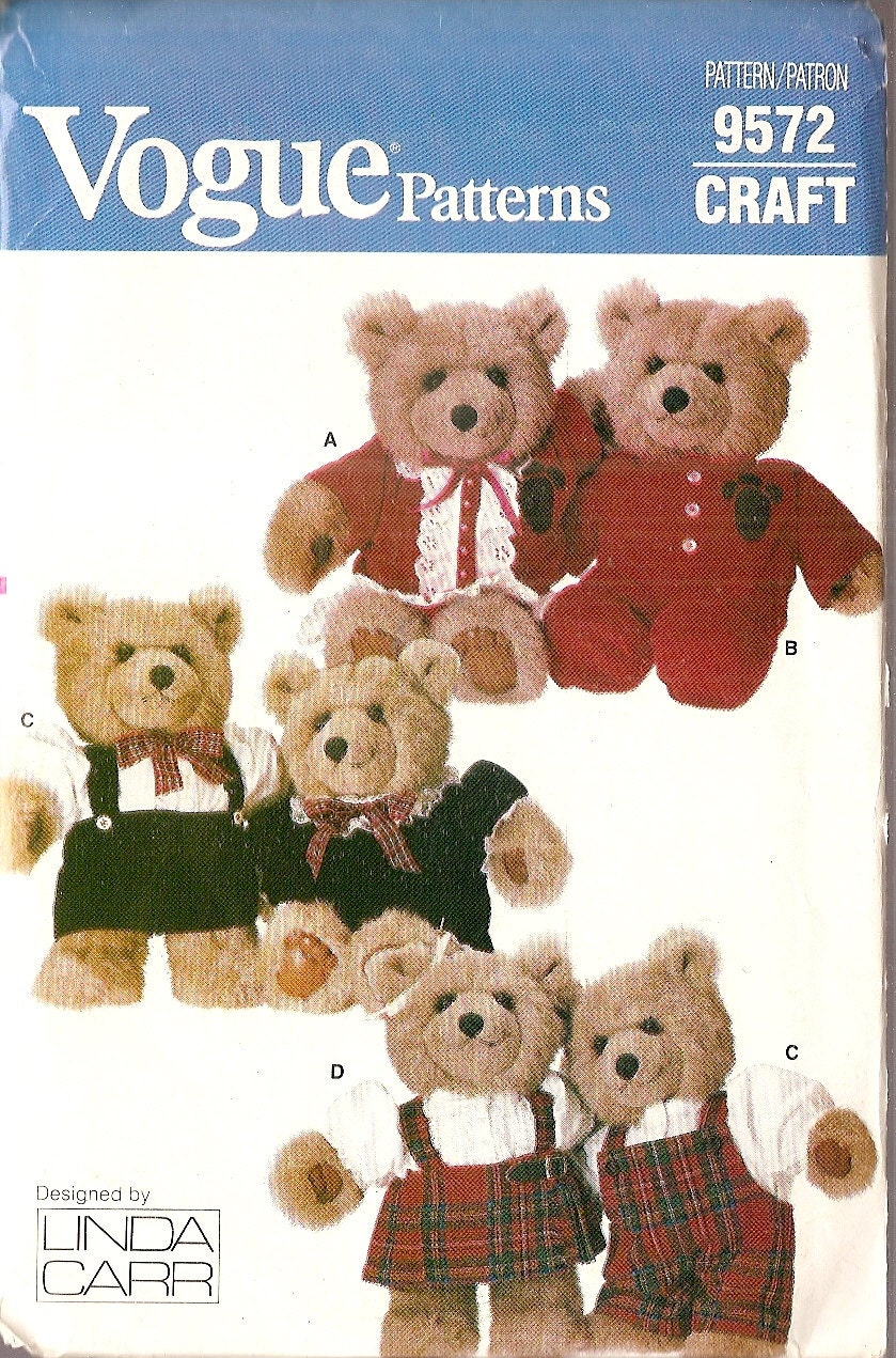 vintage Baby BEAR doll CLOTHES sewing pattern by