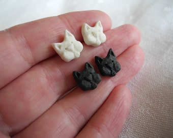 Kitty Cat earring studs in porcelain and surgical steel black or white