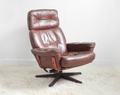Mid Century Leather Lounge Chair - Modern, Side, Wood, Retro, Danish