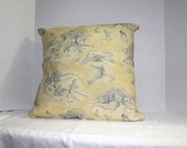 Pillow Cover Yellow and Blue Children Playing 18 x 18 Toile