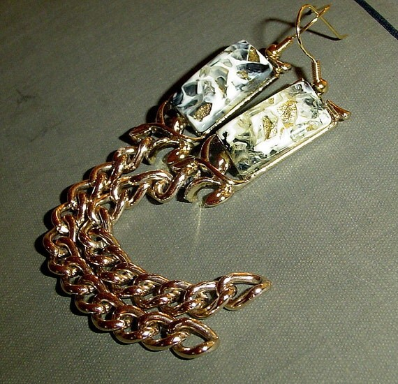Long chain earrings gold chain earrings with vintage lucite faux marble sparkly links made by MABs