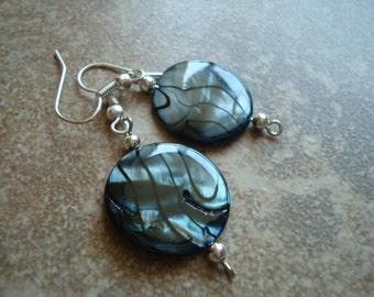 Black and Silver Bead Earring Set (E-308)