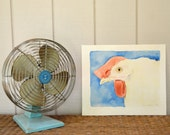 Chicken Painting Watercolor Original Signed Art Kitchen Blue Pink Animal Farm Vintage - W2768