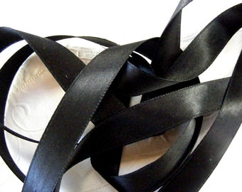 Vintage 1930's-40's French Double Faced Satin Ribbon 11/16 inch Jet Black