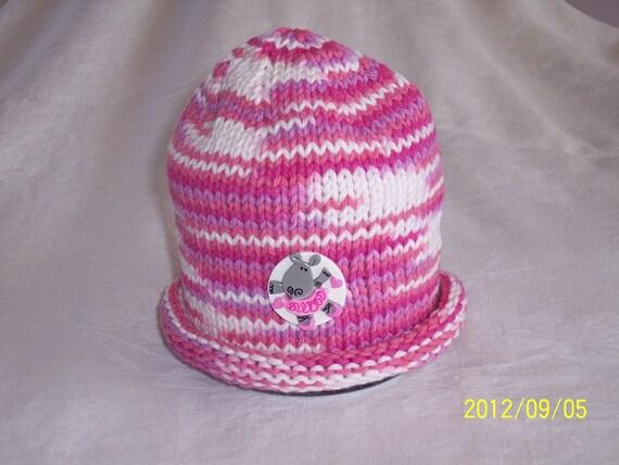 Hippo Love Pink Newborn Beanie Rolled Brim Hat