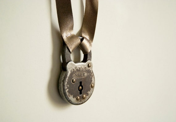 Lock & Key - vintage padlock and metallic silver leather necklace
