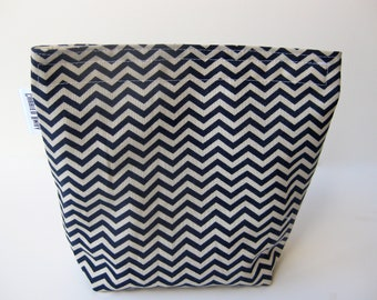 Sandwich Bag Chevron Print Navy and Natural With Gusset Bottom