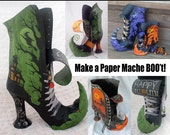 How to Make Paper Mache Witch BOO't (PDF Tutorial) - Pattern and Instructions for DIY Halloween Witch Boot Container