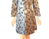 Retro/Vintage Marshall Fields Designer Sandra Sage 50s/60s Silver and Gold Party/Evening Mini Wrap Dress