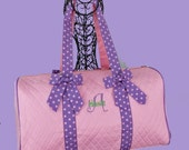 Personalized Quilted Duffle Bag In Pink With Lavender-Monogramming Is Included