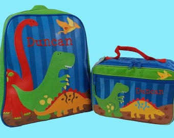 Child's Personalized Stephen Joseph GoGo DINO Themed Backpack and Lunchbox School Set-Monogramming Included In Price