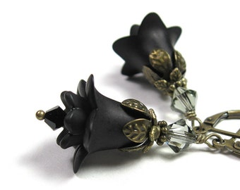 Sexy Jet Black Swarovski Crystal Lucite Flower Earrings, Floral Vintage Style Goth Earrings, Charcoal, Romantic Jewelry Gift Ideas for Her
