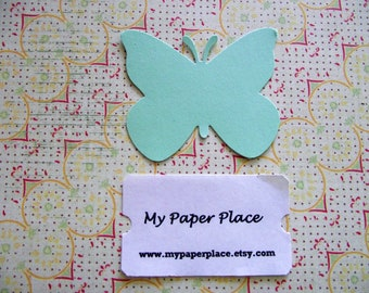 50 Mint Green Butterfly Die Cuts- 2 inch cardstock-  Free Secondary Shipping