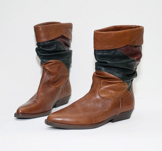 80s colorblock leather PIRATE boots - us 6.5 uk 4 eur 37