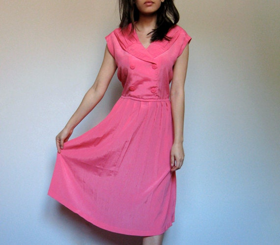 Hot Pink Dress Collared Dress Summer Fashion Sleeveless Pleated Dress Spring Casual Day Dress - Extra Large XL