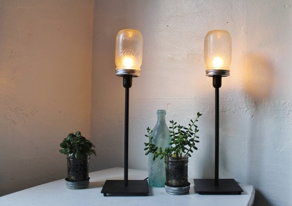 2 FROSTED Mason Jar Table Desk Lamps - Upcycled Lighting Fixtures - Set Of 2 - BootsNGus Minimalist Modern Industrial Home Lights & Decor