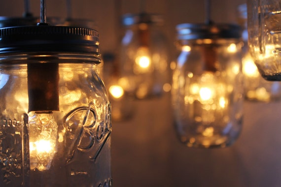 Special Order - Donna Carey - Canopy Style Mason Jar Chandeliers - BootsNGus Wedding Accessory Lamp Designs