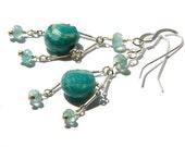 Apatite and amazonite earrings, aqua blue green earrings, gemstone dangle earrings, bohemian, hippie chic, sterling silver, Rainforest