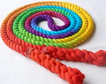Single Jump Rope Skipping Rope, Hand-Spliced & Dyed, Rainbow Colors