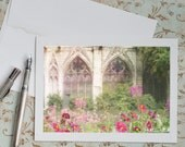 Notre Dame Paris Photo Notecard - Garden at Notre Dame with Gothic Arched Windows and Flowers, Travel Note Card, Stationery