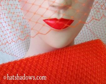 Flame Orange Millinery Hat Veiling