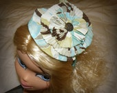 Toddler Headband Hat, Teen Headband Hat, Adult Headband Hat Boutique Vintage Fabric Flower in Pale Teal Brown and Cream