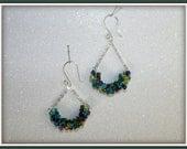 Mermaid Wire Wrapped Dangle Teal Green Purple Lime Green  Earrings Bridesmaid Earrings Bride Earrings Prom Earrings
