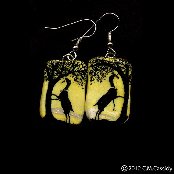 Lamancha Doe and Big Tree Earrings. Yellow. Dairy Goat Jewelry