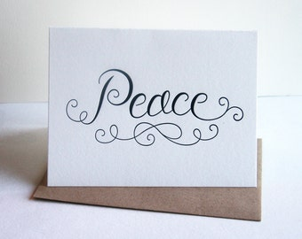 Letterpress Holiday Christmas card - PEACE