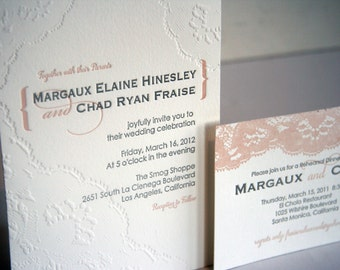 Vintage Lace Letterpress Wedding Invitation Set - custom set