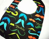 GIFT set - Moustache - Infant or Toddler Bib - ADJUSTABLE snaps - REVERSIBLE and burp cloth