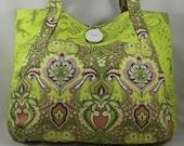 Large Tote Bag Shoulder Bag Purse Frogs and Damask Print Designer Fabric  - OOAK