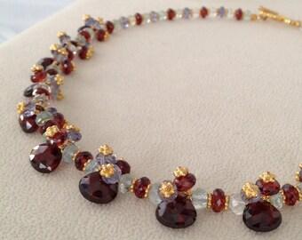 Semiprecious Gemstone Necklace in Gold Vermeil with Garnet, Iolite and Aquamarine