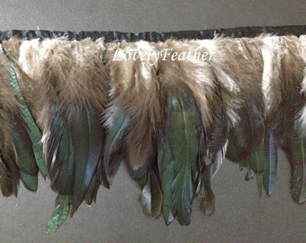 Coque feather fringe of natural color 2 yards trim