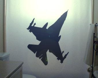 Fighter Jet F16 Shower Curtain Airplane Bathroom Kids bath decor Stealth Bomber f-16 Fighting Falcon Warplane Military Aircraft Plane