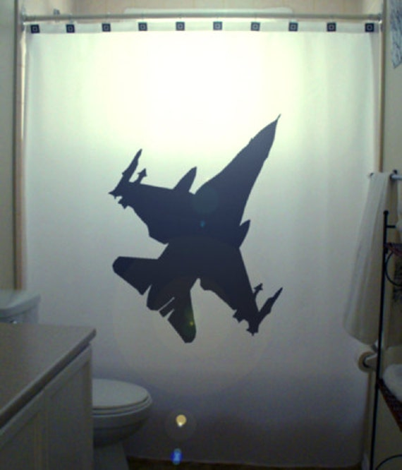 Fighter Jet F16 Shower Curtain Airplane by ...