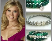 RESERVED - Semi Precious Gemstone Stretch Bracelet Stack Green Agate and Sterling Silver charm set of three bracelets