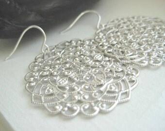 Tarra Earrings, Ornate Filigree Earrings with Sterling Silver earwires