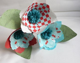 Fishy Flowers Bouquet - colorful set of 3 handmade paper flowers